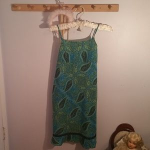 Limited Too Size 10 Long Green Paisley Dress